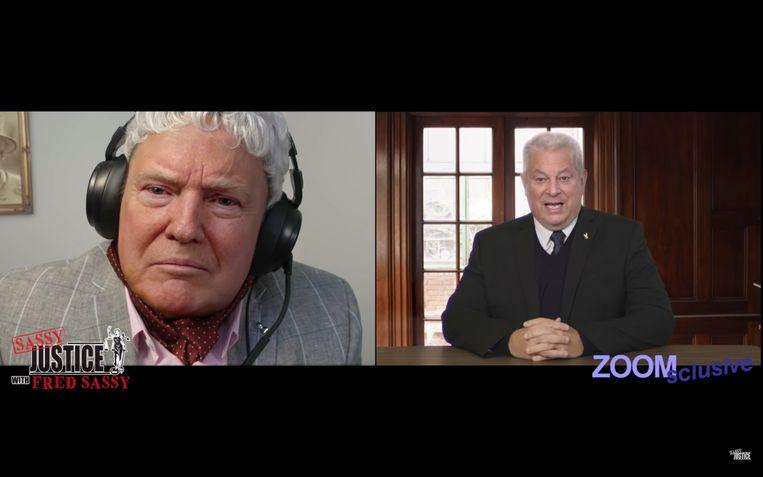 Scène uit 'Sassy Justice' van Trey Parker en Matt Stone: Fred 'Donald Trump' Sassy laat Al Gore 'vagina poop' zeggen. Beeld Sassy Justice