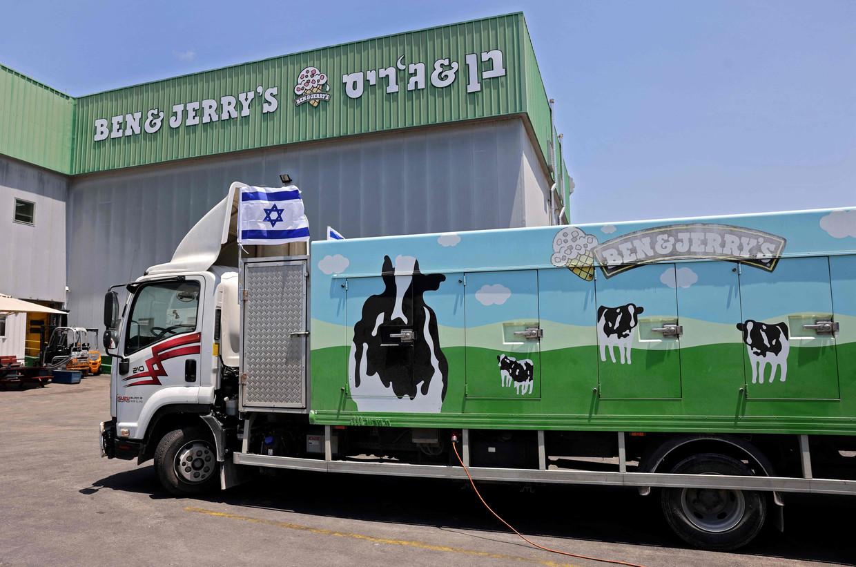 Deze fabriek in Be'er Tuvia zal vanaf volgend jaar geen Ben & Jerry's meer mogen maken en verkopen. Beeld AFP
