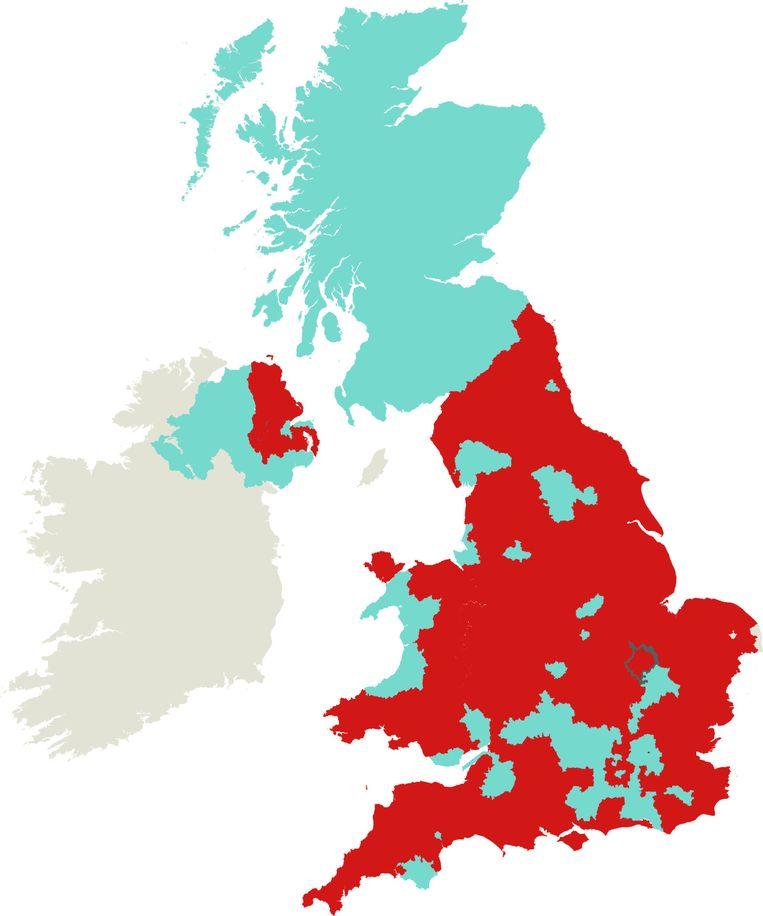 De stemverdeling in het Verenigd Koninkrijk. Beeld de Volkskrant