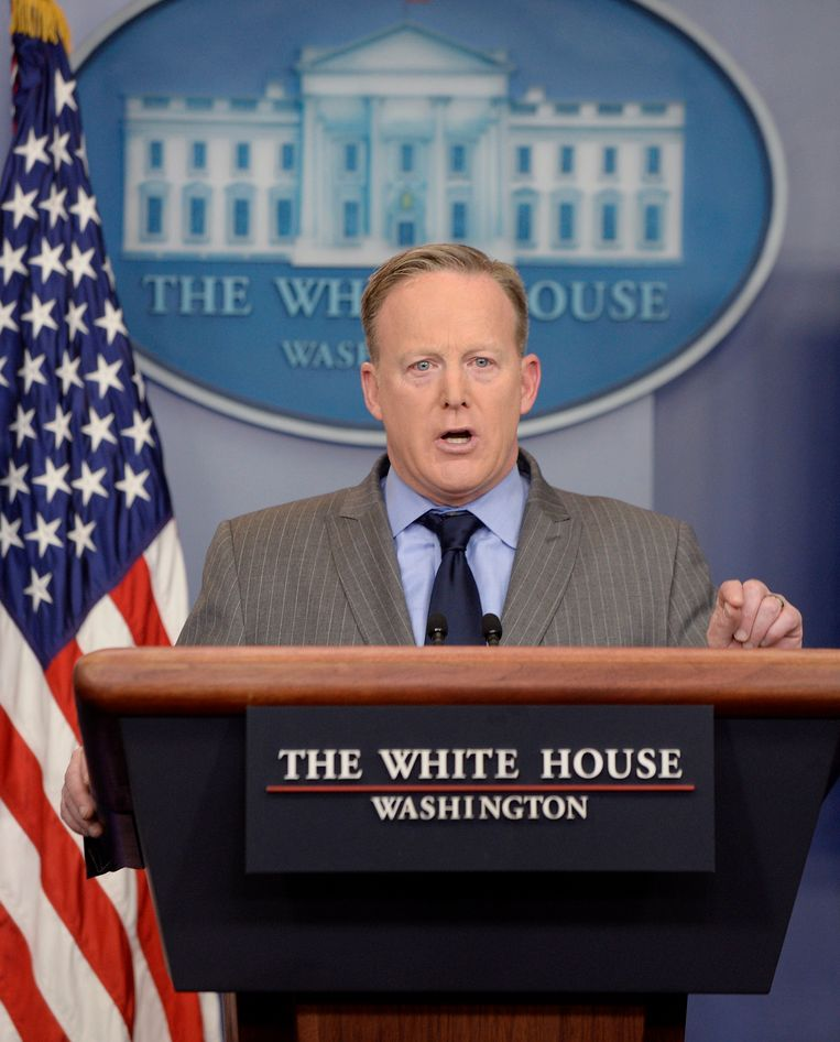 Woordvoerder van het Witte Huis, Sean Spicer. Beeld photo_news