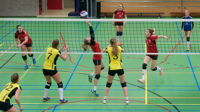Volleybalclub Rebelle in 2017 aan het werk in sporthal Theothorne in Dieren. In de sporthal wordt nu niet gesport.