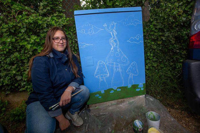 Julie Laurent (17) verwerkte de hopduvel in haar tekening. Het werk kon ze door het slechte weer niet afmaken.