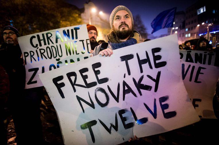 Een betoging tegen de opsluiting van de Greenpeace-activisten in Bratislava, Slovakije.