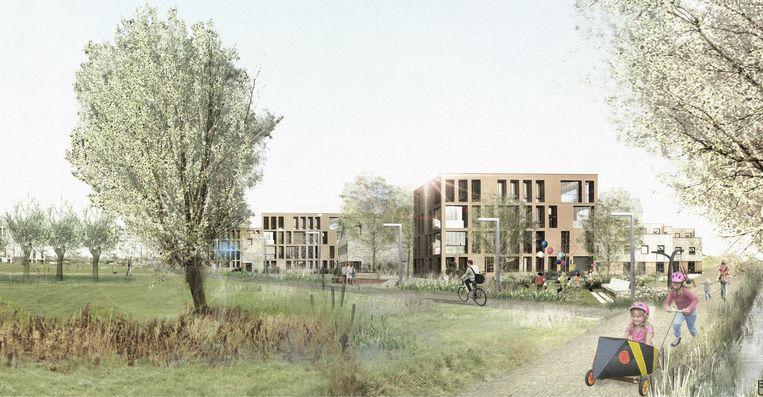 Een simulatie van hoe de stad de toekomst van het binnengebied ziet, met behoud van veel open ruimte.