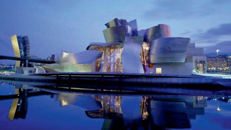 Impressie van het Guggenheim Museum in Abu Dhabi. Architect Frank Gehry (86) hoopt de opening gepland in 2020 nog te beleven. Beeld