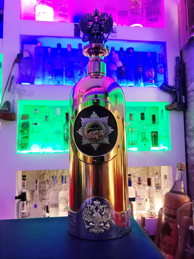 De fles Russo-Baltique wodka die gisteren in Denemarken werd gestolen.