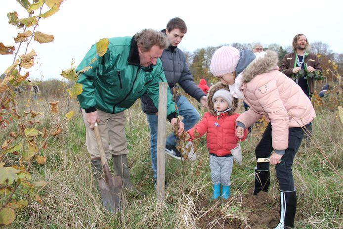 Nieuwe boompjes planten in het geboortebos in Ronse.