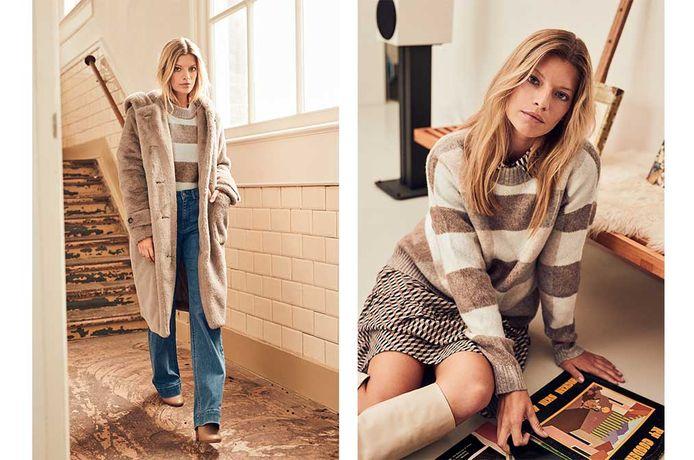 Teddycoat (34-46), € 64,99 - Trui met strepen (S-XXL), € 34,99  - Jeans (36-48) € 34,99  -  Jurk met print (34-46), € 44,99, online en in de winkels te koop