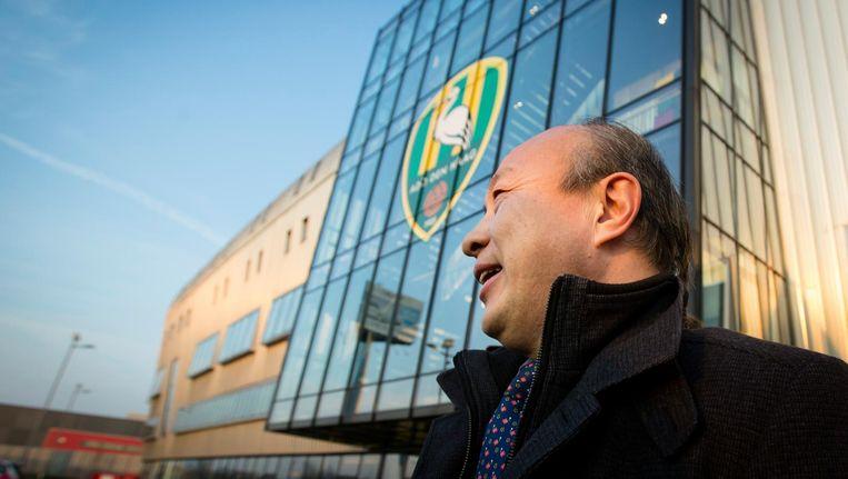 Hui Wang, eigenaar van ADO Den Haagverlaat het Kyocera stadion. Beeld anp