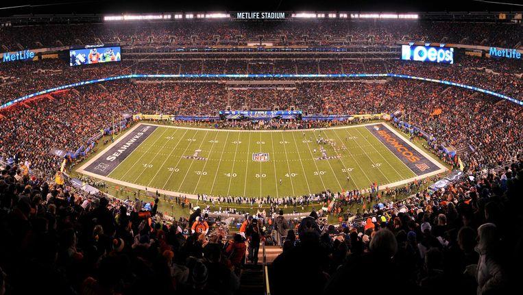 Een beeld van het MetLife Stadium in de Amerikaanse staat New Jersey tijdens de Super Bowl vorig jaar. Beeld GETTY