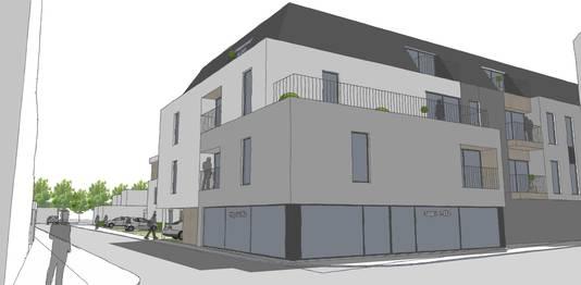 Zo zou de blok met assistentiewoningen er uit zien. Onderaan is er plaats voor een buurtwinkeltje.