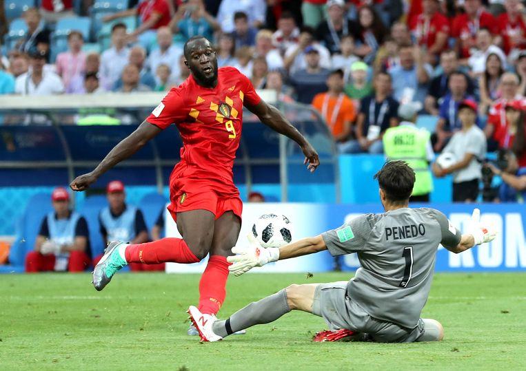 Romelu Lukaku maakt de 3-0. Beeld Getty