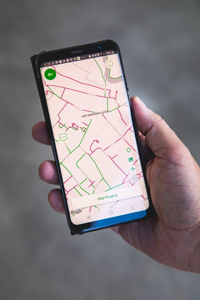 De app toont welke straten er al werden geplogd en welke niet.