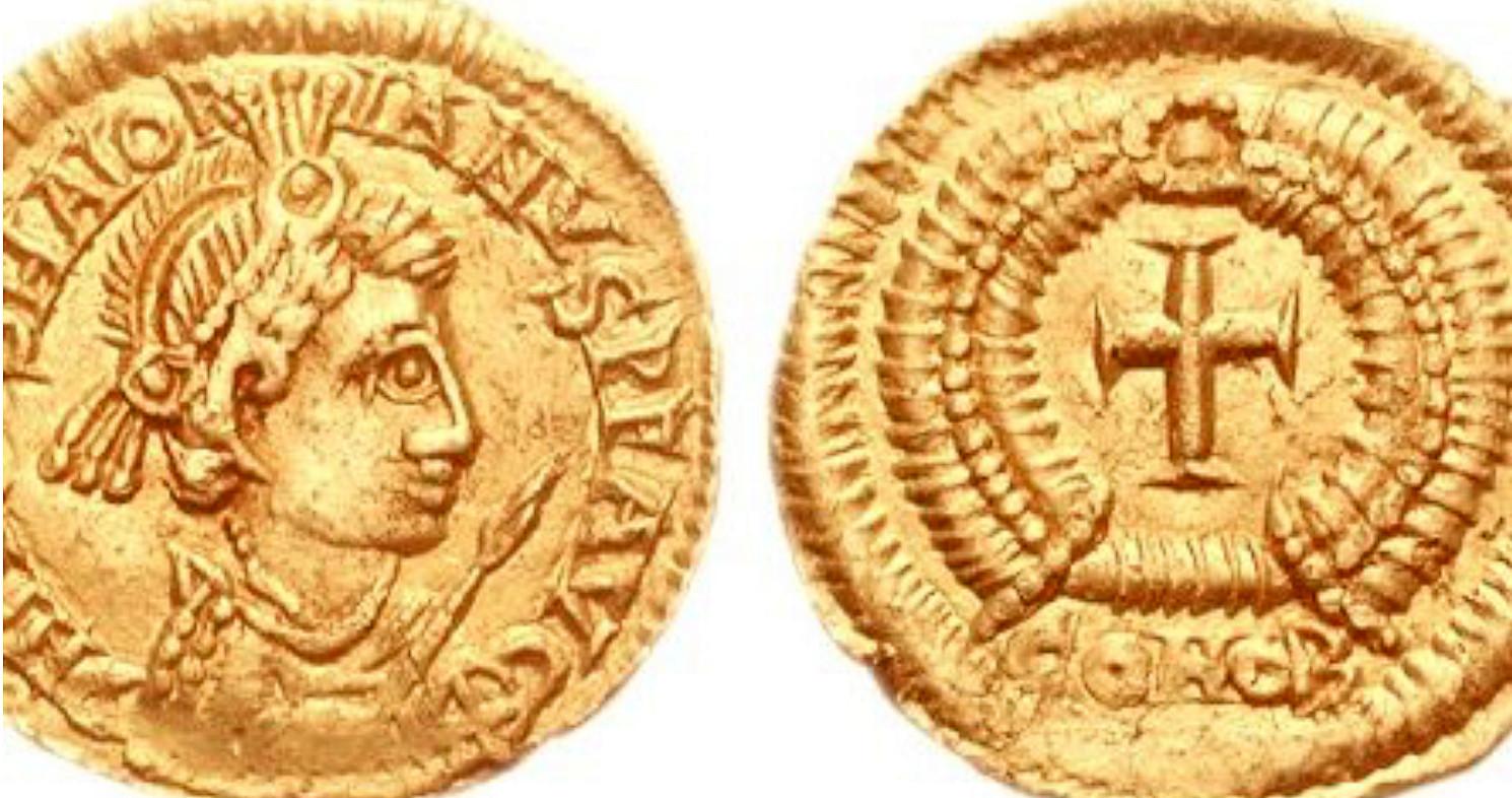 Een gouden munt met afbeelding van keizer Maiorianus.