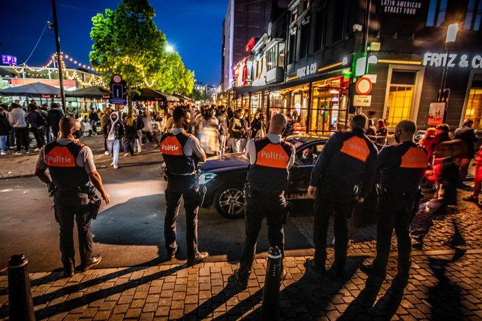 De politie in Hasselt, die een extra oogje in het zeil hield tijdens het sluitingsuur.