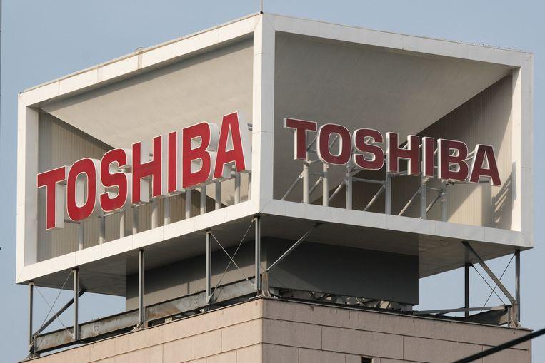 Het hoofdkantoor van Toshiba in Tokio. De Franse poot van het bedrijf is aangevallen door hackers en heeft daar aangifte van gedaan.  Beeld AFP