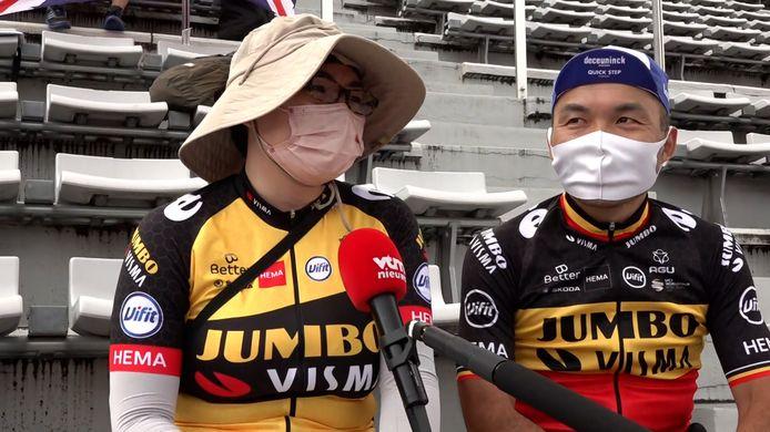 Japanse supporters van Van Aert in Tokio.