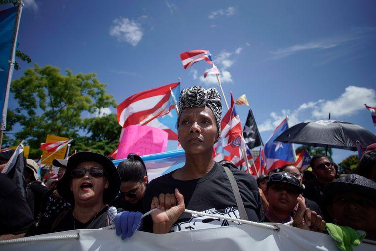 Al meer dan een week gaan Puerto Ricanen de straat op om het aftreden van Rosselló te eisen, maandag waren de grootste demonstraties tot nog toe.  Beeld null