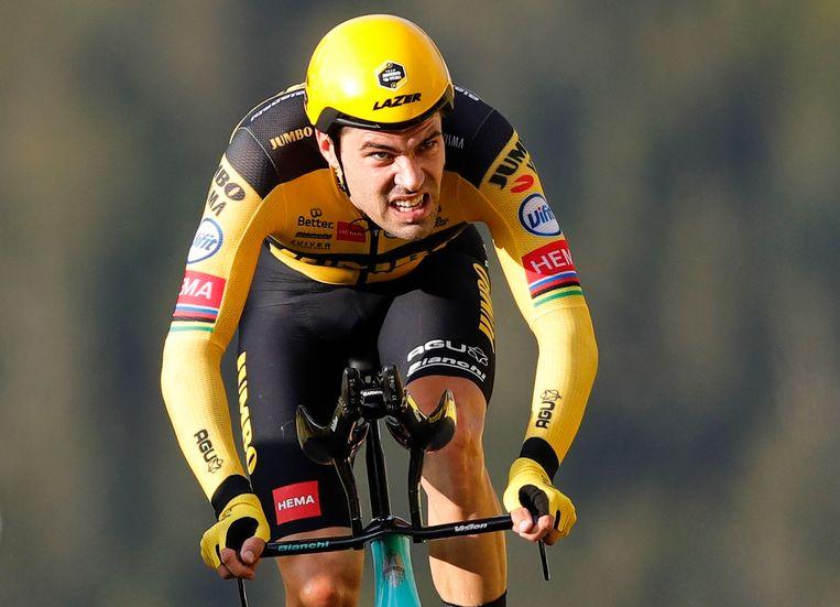 Tom Dumoulin in actie in de Tour de France van 2020.  Beeld EPA