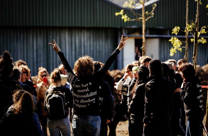 Dierenactivisten hielden op 13 mei een varkensstal bezet in Boxtel.