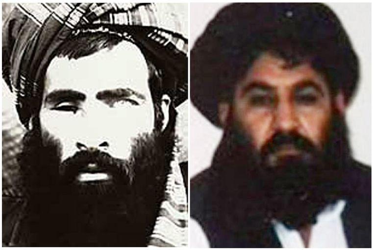 Rechts de nieuwe Taliban-leider,Mullah Akhtar Muhammad Mansour. Hij volgde Mullah Omar op,links,die lange tijd de beweging leidde.