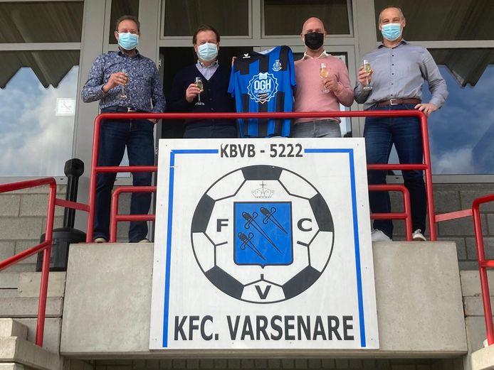 De technische staf van Varsenare met (vlnr.) Yannick Bousson (sportief verantwoordelijke), Stefaan Ameel (T1), Steven Lampo (T2) en Danny De Coninck (algemeen coördinator).