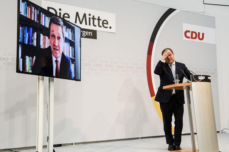 Armin Laschet, voorzitter van de CDU, zou dit najaar de opvolger moeten worden van bondskanselier Angela Merkel. Maar inmiddels wordt binnen de partij aan die keus getwijfeld.   Beeld EPA
