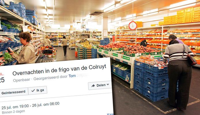 Op Facebook staat een evenement, dat oproept om te overnachten in de koelcel van de Colruyt.