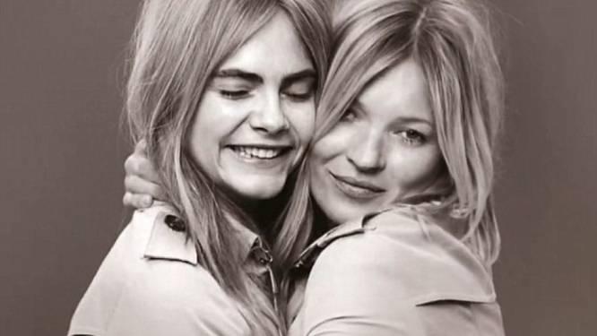 Cara Delevingne en Kate Moss met weinig om het lijf in nieuwe Burberry fotoshoot