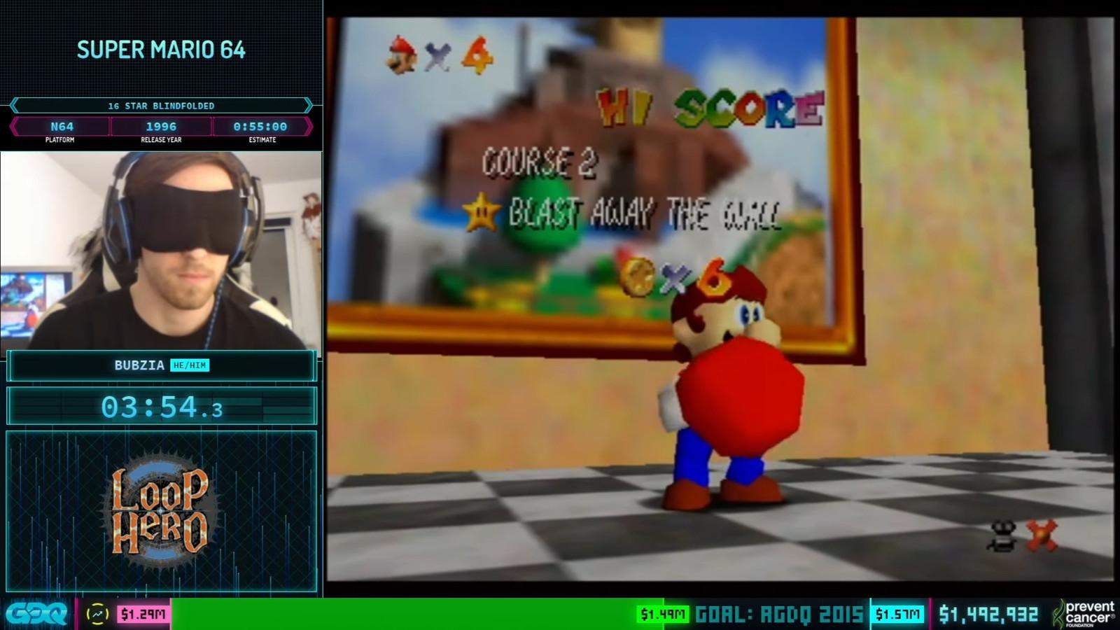 Tijdens Awesome Games Done Quick werd in zeven dagen ruim 2,7 miljoen dollar ingezameld in de strijd tegen kanker. Speedrunner Bubzia speelde geblinddoekt de game Super Mario 64 uit.