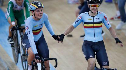 Jolien D'hoore en Lotte Kopecky pakken brons in ploegkoers in Berlijn