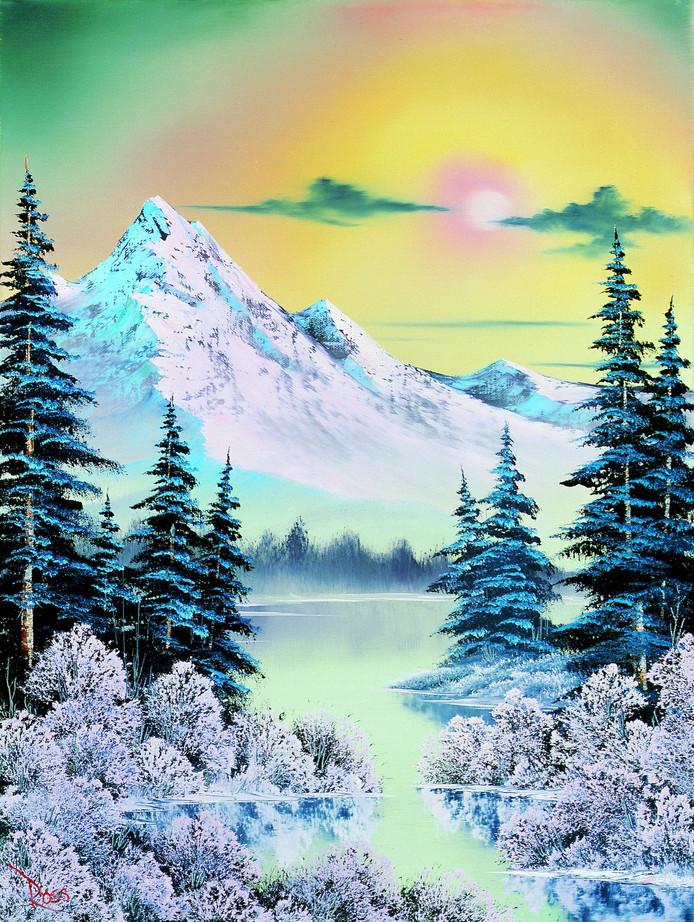 Een van de schilderijen van Bob Ross.