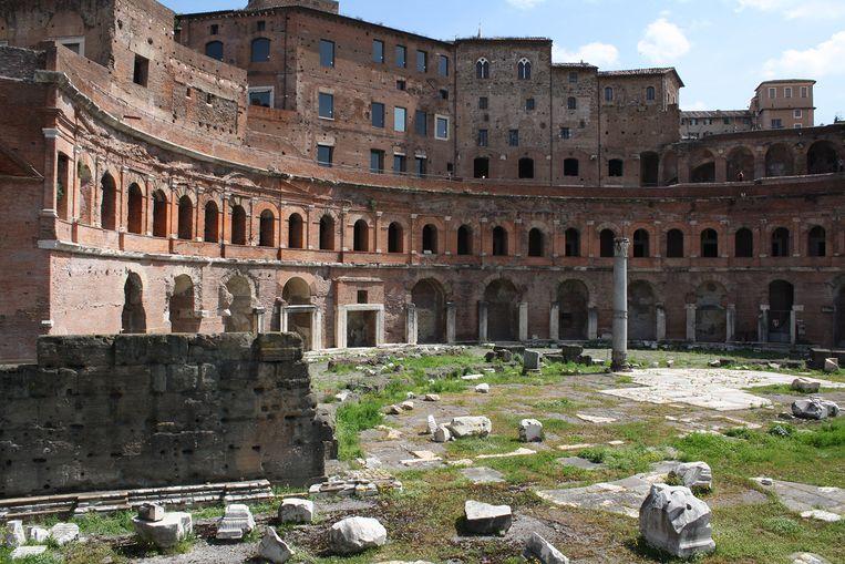 Minder gefortuneerden kunnen 300 euro storten om onkruid te laten wieden op de markten rond de zuil van Trajanus. Beeld rv