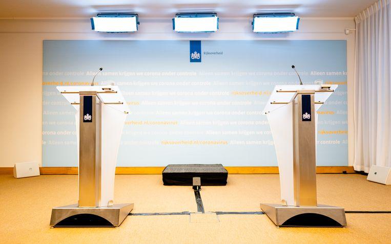 Om 19.00 uur begint de persconferentie van demissionair premier Rutte en minister De Jonge. Beeld Hollandse Hoogte /  ANP