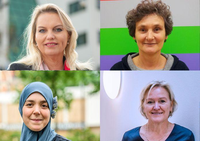 Vanaf linksboven met de klok mee: Lilian Damen, Birgit Verstappen, Lian Smits en Esmah Lahlah. Powervrouwen Hilvarenbeek.