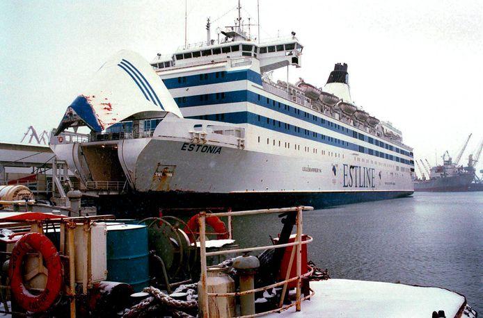 De Estonia in de dokken bij Estlines Ferryterminal in Tallinn.