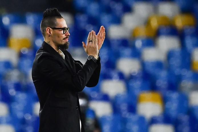 Marek Hamsik nam voor de wedstrijd afscheid van het publiek in Stadio San Paolo.