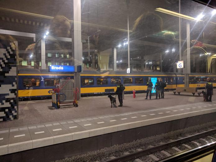 De politie met honden, gezien vanuit een andere trein.