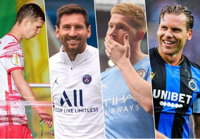 Van l naar r: Dani Olmo (RB Leipzig), Lionel Messi (PSG), Kevin De Bruyne (Man City) en Ruud Vormer (Club Brugge).