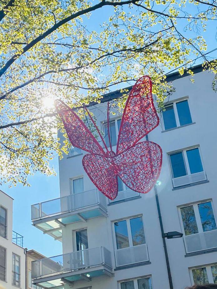 Tot september zullen de kleurrijke vlinders de winkelwijk van De Wilde Zee opfleuren.
