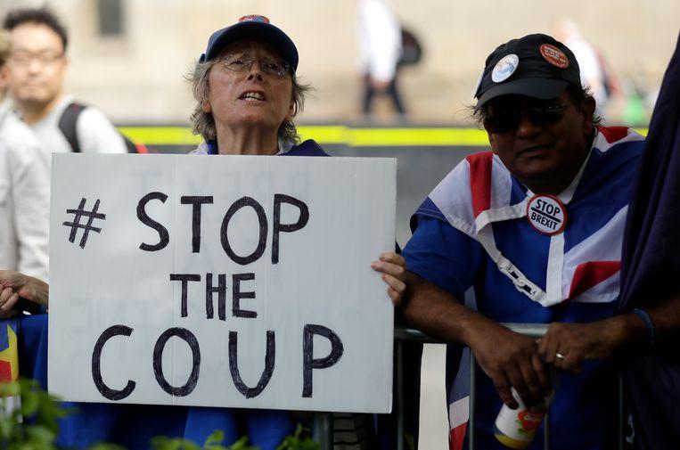 Anti-Brexitdemonstranten voor het parlement in Londen.  Beeld AP