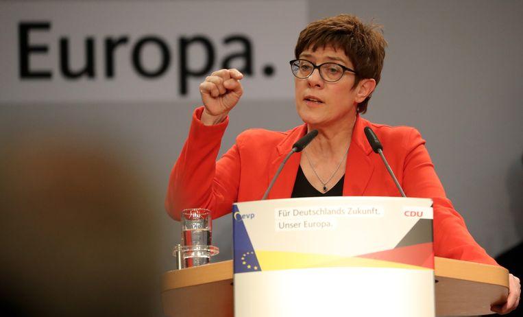 Annegret Kramp-Karrenbauer, in de media ook wel 'AKK' genoemd. Beeld EPA