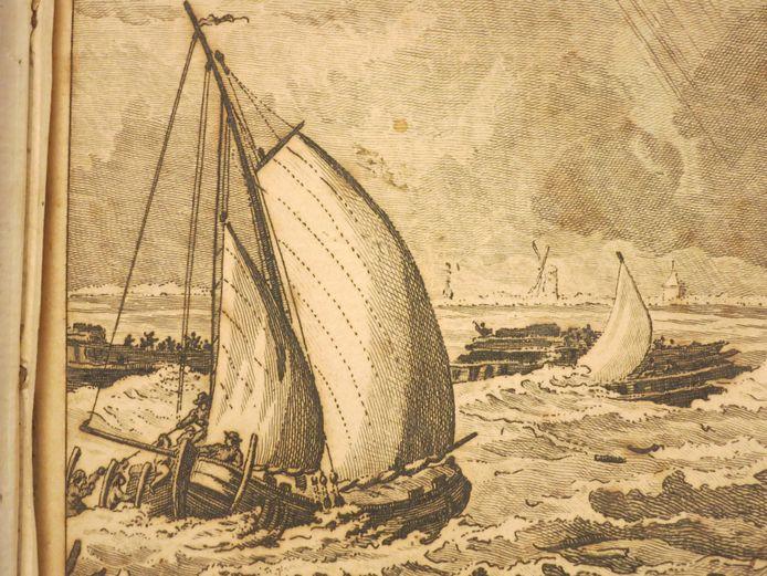 De gebroeders Naerebout redden schipbreukelingen van de verongelukte Oost-Indiëvaarder Woestduyn voor de kust van Walcheren, gravure 1787 door Reinier Vinkeles naar Jacobus Buys (detail)