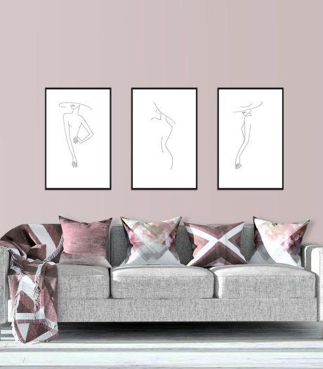 Laat je verbeelding de vrije loop met fine line art aan de muur