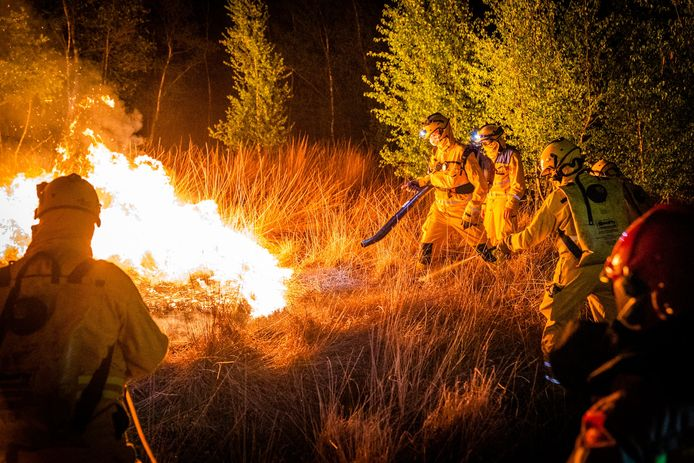 Leden van het handcrewteam in actie tijdens de grote natuurbrand in de Deurnsche Peel vorig voorjaar.