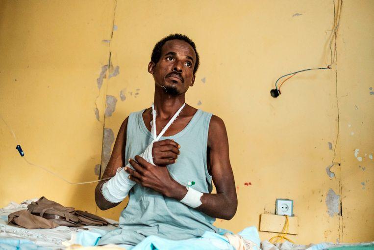 Een overlevende van de Eritrese moordpartijen. Beeld AFP