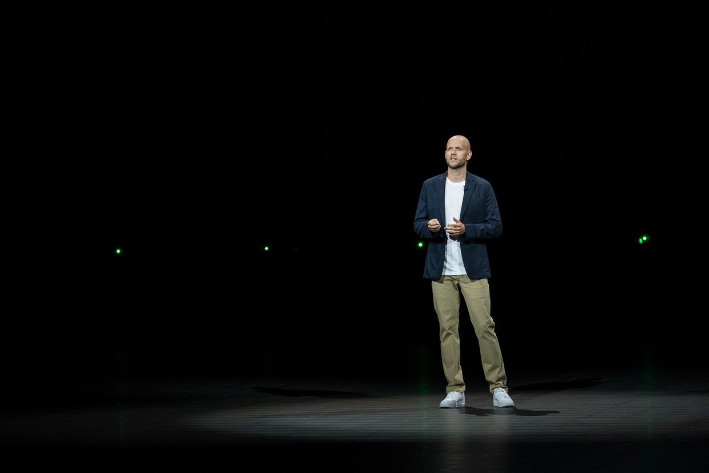 Daniel Ek,  de CEO van Spotify, in het Barclays Center in Brooklyn in New York City. Beeld Getty Images