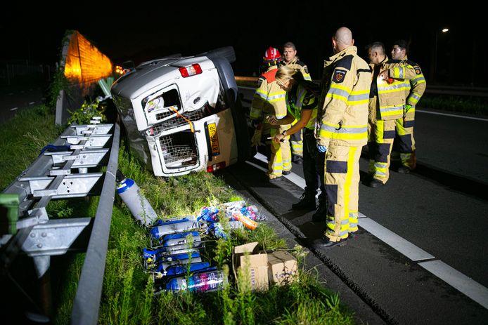 Bij het ongeval werd een grote hoeveelheid lachgas gevonden.