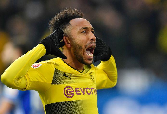 Aubameyang in het shirt van Borussia Dortmund.