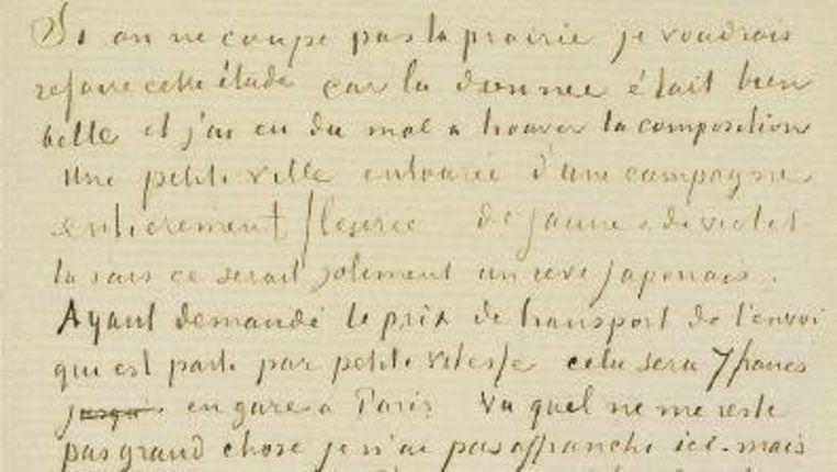 Detail van een brief van Vincent van Gogh aan zijn broer Theo, 12 mei 1888. Beeld